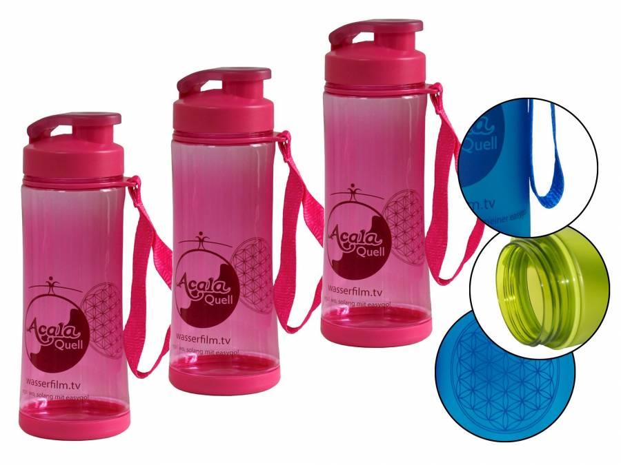 3er Set Tritan Trinkflasche easygo pink mit Klappdeckel