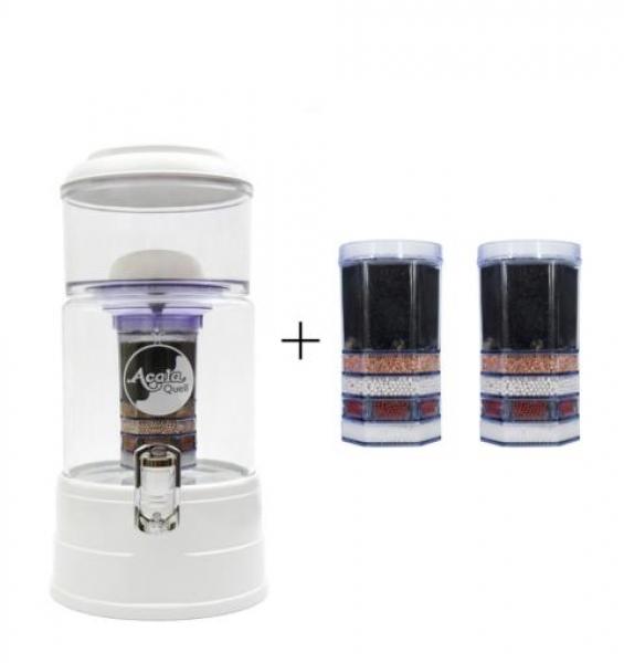 Einsteigerpaket AcalaQuell Mini weiß - Kristallklar + handgefertigtem Glas + Gravur Blume des Lebens