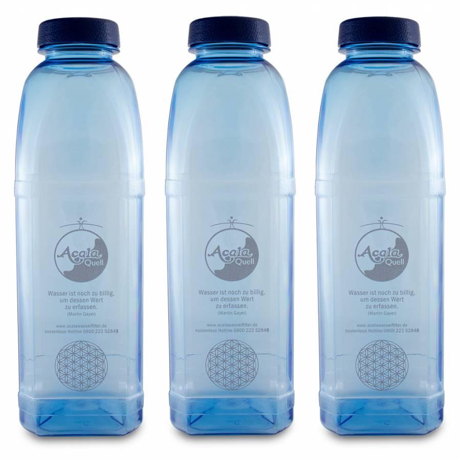 Tritan Trinkflasche 8-kant - 1 L Sparset mit Blume des Lebens