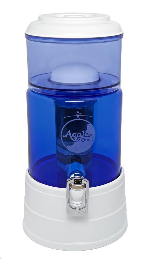 AcalaQuell® Mini: blau / weiß + handgefertigtem Glastank + Gravur Blume des Lebens